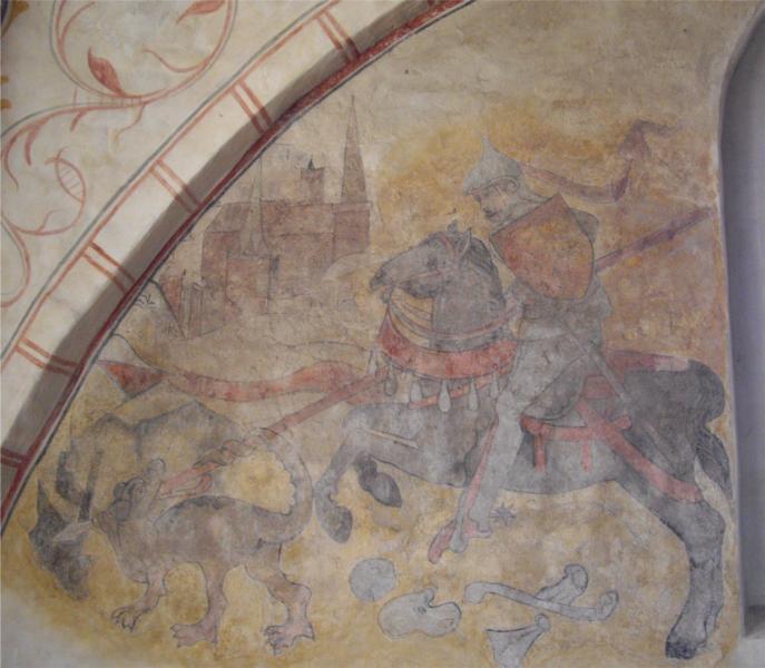 Wandbild des Heiligen Georg. Mit der Lanze durchbohrt er den neben Gebeinen stehenden Drachen.