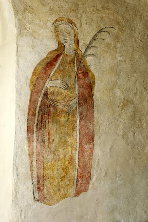 Wandbild einer Frau. Als Mörtyrerin am Palmzweig erkennbar.
