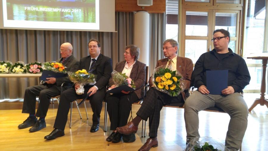 Die mit dem Stuhrer Wolf 2017 geehrten: Dieter Barnewitz, Christoph Stein, Angela Wilken, Horst Ewald und Hauke Janssen (v.l.)